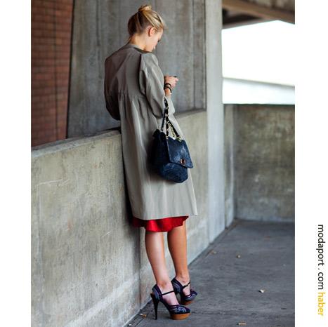 New York sokak modasından: trençkot ve topuklu ayakkabılar