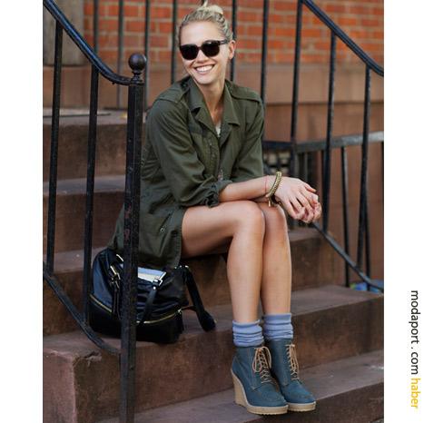 New York sokak modasından: Kot şort ve botlar