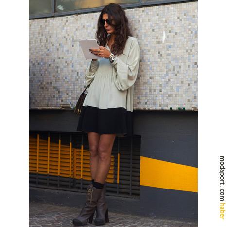 Milan sokak modasından: Etek ve postallar