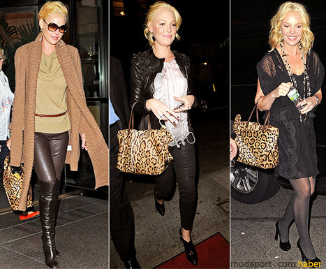 Katherine Heigl, sezon trendi leopar çantasıyla