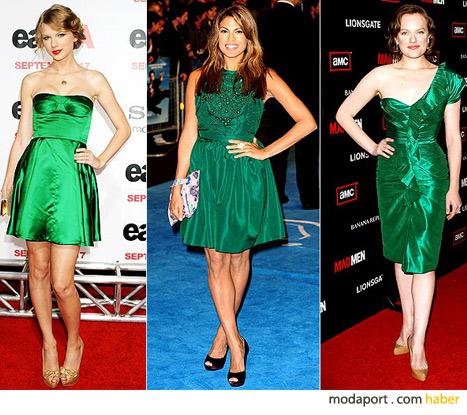 Yeşil elbiseleriyle ünlüler