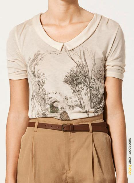 Beyaz orman desenli bluz