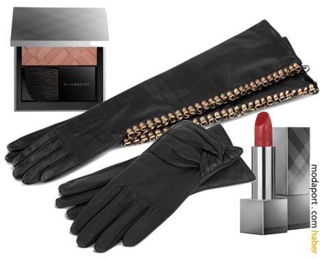 Burberry deri eldivenler ve makyaj malzemeleri.. pratik küçük hediyeler..