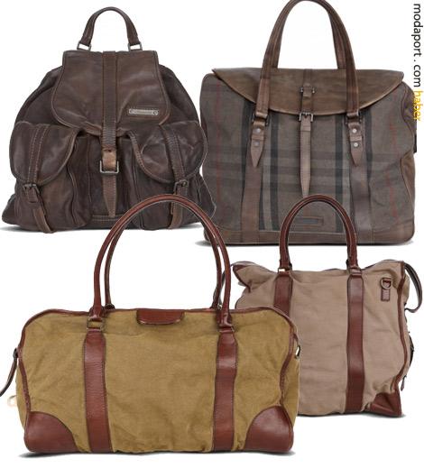 Burberry hediye seçenekleri arasında değişik boyutlarda erkek çantaları var..