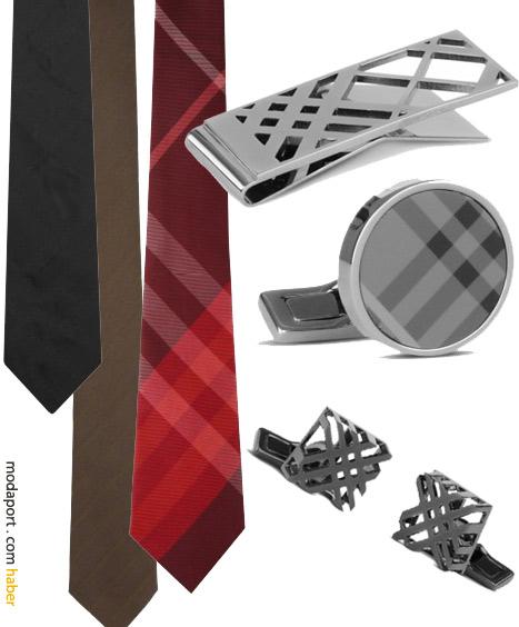 Burberry desenli kravatlar, kol düğmeleri, kravat iğnesi