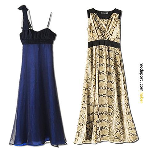 Askılı abiye elbise 129,99TL. Yılan desenli elbise 119,99TL.