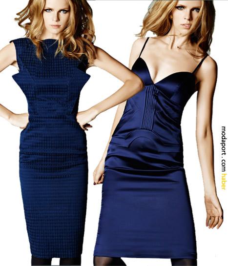Hakan Yıldırım'ın lacivert gece elbiseleri. Soldakinin fiyatı 99,99TL. Sağdaki 149,99 TL.