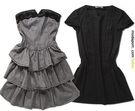 Koton'un bu eğlenceli straplez kot elbisesinin ve saten mini elbisenin fiyatları 79,99TL.
