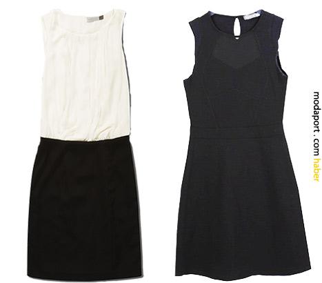 Gündüz ofiste de giyilebilecek Koton elbiseler.. Beyazlının fiyatı 69,99TL, siyah ise 59,99TL.