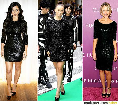 Pullu mini siyah elbise trendi