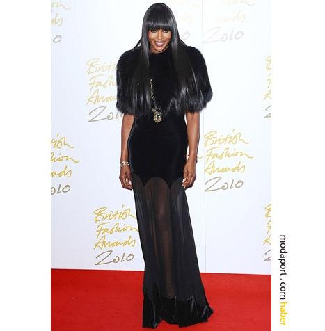 Naomi Campbell'ın siyah gece elbisesi