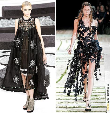 2011 İlkbahar Yaz defilelerinden transparan elbiseler.. Soldan sağa Chanel ve Alexander McQueen