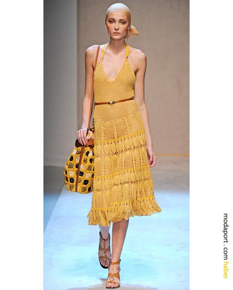 Salvatore Ferragamo tığ işi örgüsü yazlık elbise