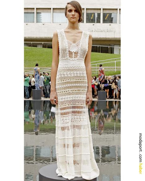 Malandrino başak desenli dantel elbise