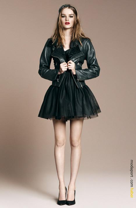 Siyah tüllü elbise ve deri ceket
