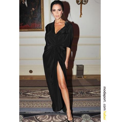 Victoria Beckham'ın yırtmaçlı gece elbisesi