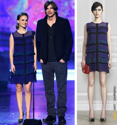 Natalie Portman, Jason Wu elbisesiyle Ashton Kutcher'la