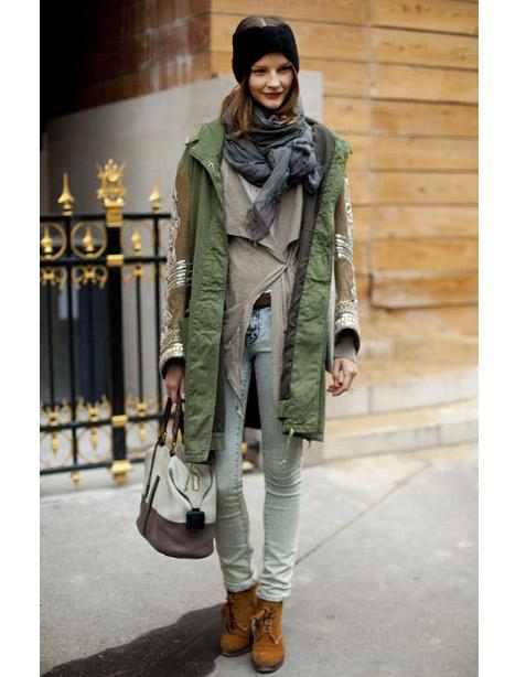 Paris sokak modasından katlı kış stili