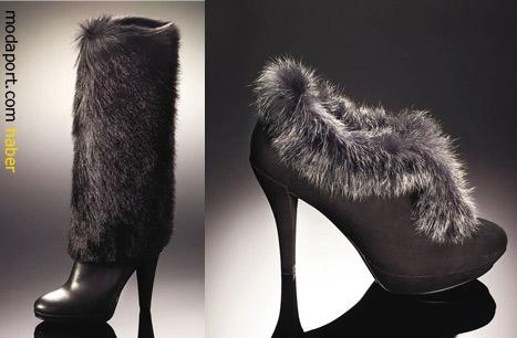 2011 kışının modası kürklü deri çizmeler ve ayakkabılar da indirimde