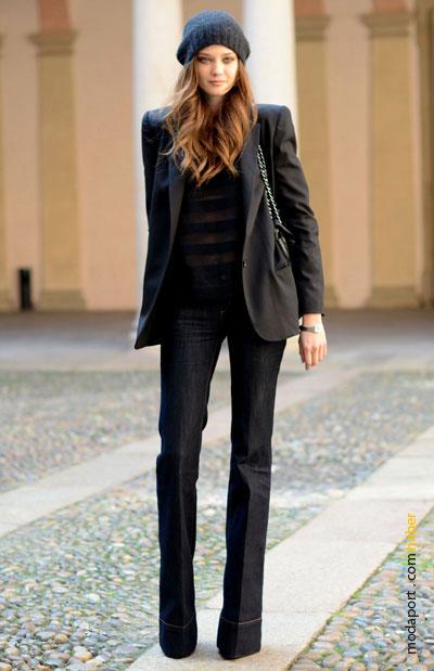 Milan sokaklarından kot ve ceket stili